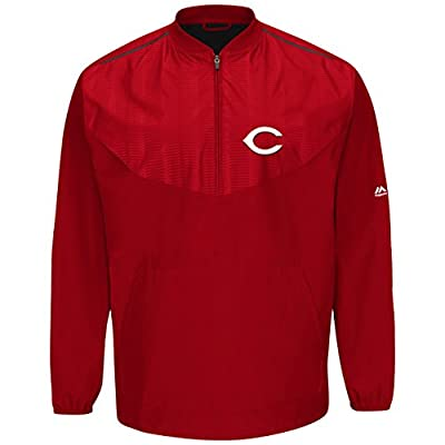 Majestic Cincinnati Reds Half Zip Cool Base On-Field Training Jacket