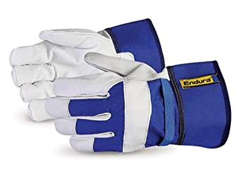 Superior 76GB Endura Goatskin Leather Fitter Glove with Lined Palm and Safety Band Cuff, Work, Blue (Pack of 1 Dozen)