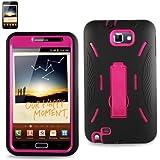 Bastex Samsung Galaxy Note I9220 Blk W/Hot Pink Hybrid Kickstand Case