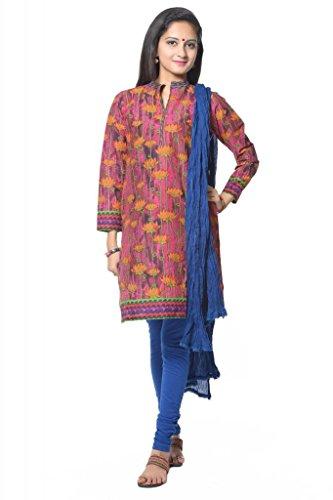 Vastra Vinod Multi Floral Print Straight Salwar Suit - B00L94DLJI