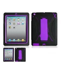 iPad 2 / iPad 3 Black and Purple Hardcore Kickstand Case