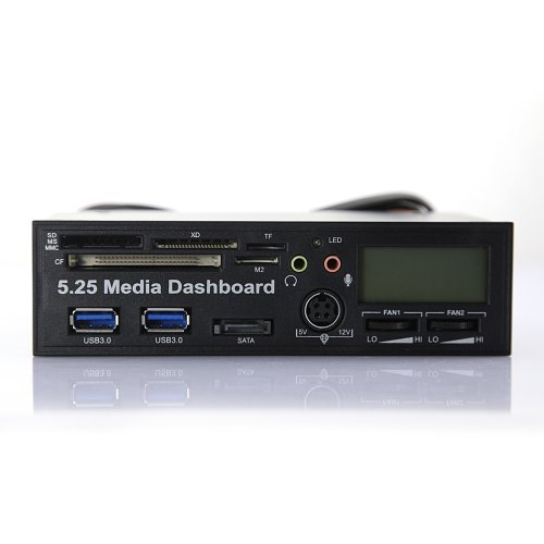 "Tabstore 5.25"" Pc Dashboard Media Lcd Front Panel Audio Sd Ms Mmc Cf Xd Tf M2 Card Reader With Fan Control Usb 3.0"