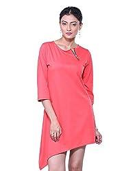 VeaKupia Women's Asymmetric Regular Fit Dress (Coral, 36)