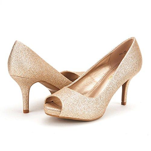 DREAM PAIRS OL Women's Elegant Open Toe Classic Low Heel Wedding Party Platform Pumps Shoes GOLD GLITTER SIZE 10