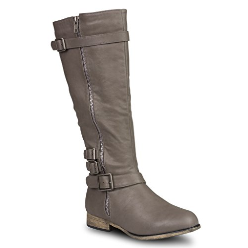 Twisted Women's Noah Knee High Faux Leather Boots with Buckle Straps - GREY, Size 8