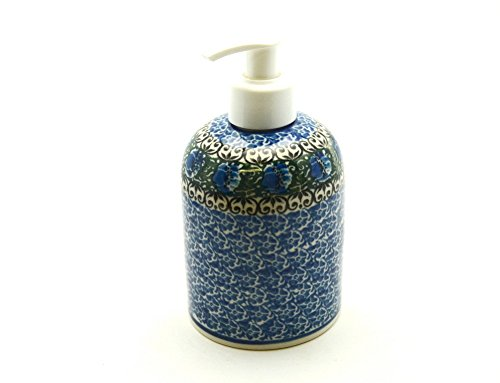 Polish Pottery Soap/Lotion Dispenser - Peacock Feather (Pottery Kitchen compare prices)