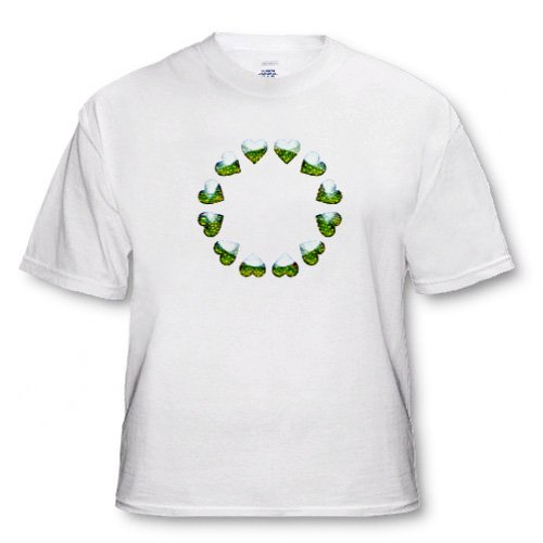 Green Hearts Around on white background Vibrant unique n modern design - Adult T-Shirt Small