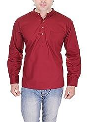 Padam Men's Cotton Kurta_PMKR0003_Maroon_XL