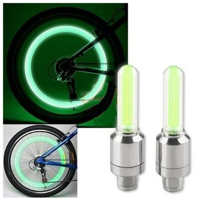 Green LED Flash Tire Valve Cap Light for Bike