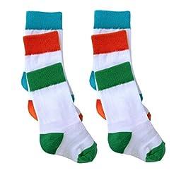 Cheski Baby Knee Socks stay put on baby\'s kicking legs 0-6 months ~ 3 Pack (2 Sets of Blue/Green/Orange)