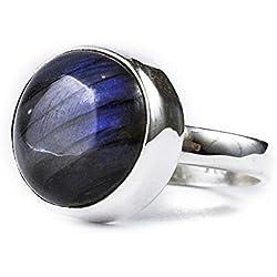 Labradorite Ring - 8 Carat Labradorite Gemstone with 925 Sterling Silver (Round Stone) (Size 7.5)