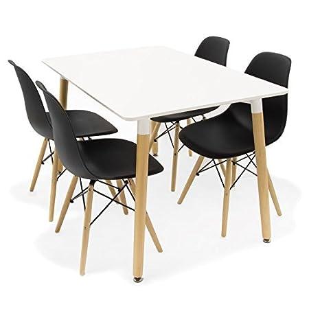 Conjunto de mesa 140 + 4 sillas Tower negras
