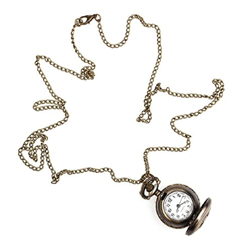 Mokingtop Retro Leaves Vintage Style Pocket Chain Necklace Watch Christmas Gift