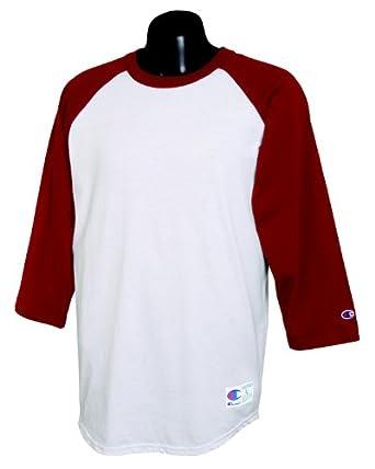 Buy Champion - 6.1 oz. Tagless Raglan Baseball T-Shirt >> S,WHITE SCARLET by Champion