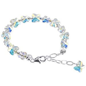 "SCBR211 .925 Sterling Silver Butterfly Clear AB Swarovski Crystals 5.5"" 6"" 6.5"" 7"" Length Adjustable Bracelet Lobster Clasp MADE WITH SWAROVSKI ELEMENTS"
