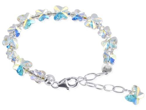 SCBR211 Sterling Silver Butterfly Clear AB Crystal Bracelet 5.5 to 7 inch Made with Swarovski Elements