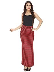 Franclo Women's Pencil Skirt (Stripes design) (Red)