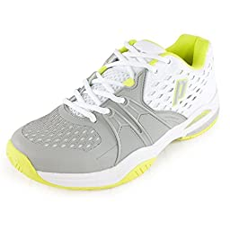Prince Women\'s Warrior Tennis Shoes (White/Grey/Citron) (11 B(M) US)
