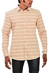 Indipulse Men's Casual Shirt (IF11600634b, Beige, XXL)