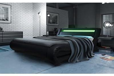 Modern Italian Designer Kingsize Bed Upholstered in Faux Leather, 5ft, Black
