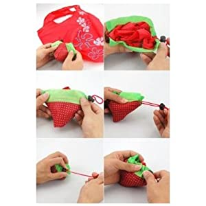 SODIAL- Strawberry Folding Fold up Reusable Compact Eco periodic duty Recycling use Shopping Bag