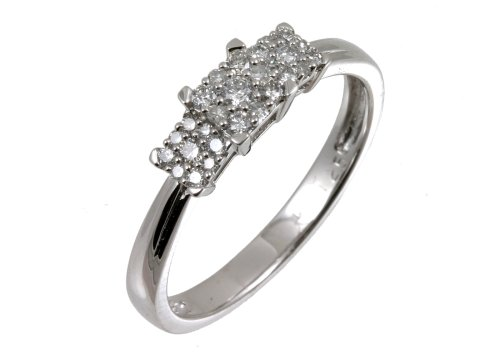 9ct White Gold Diamond Cluster Ladies' Ring Size P