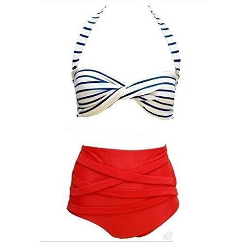Missyhot Damen Zweiteiliges Bademode Polka Dots Schwimmenanzug Monokini Sailor Navy Stil Bikini Set Neckholder Badeanzug Hohe Taille