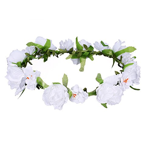 MBJERRY Wedding Crown Wreath Headband Summer Beach Photography Flower Hair Accessories (White)