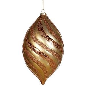 """10.5"""" Antique Gold Matte Glitter Spiral Drop Shatterproof Christmas Ornament"""