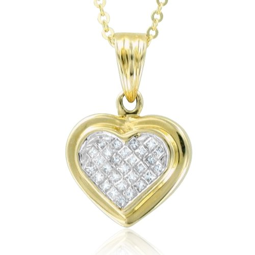 Invisible Set Princess Cut Diamond Heart Necklace in 14k Yellow Gold (HI, SI2, 0.25 cttw)