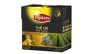 Lipton - Thé Noir Origine - Thé Or - 20 Sachets Pyramide - Lot de 3