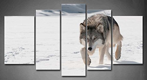 5 Panel Wall Art Grey Wolf Canis Lupus Stalks Forward In Winter Snowfield Painting Pictures Print On Canvas Animal The Picture For Home Modern Decoration Piece (Stretched By Wooden Frame,Ready To Hang)