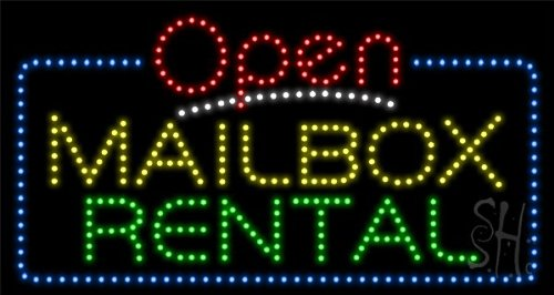 """Mailbox Rental Animated Outdoor Led Sign 17"""" Tall X 32"""" Wide X 3.5"""" Deep"""
