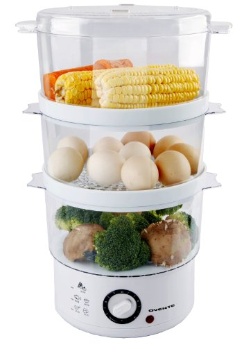 Ovente FS53W 7.5-Quart 3-Tier Electric Vegetable and Food Steamer, White (3 Tier Electric Steamer compare prices)