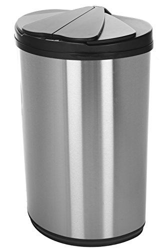 Nine Stars 12.4 gallon / 47 L, Silver black, Stainless steel, Motion Sensor Trash Can (Motion Sensor Trash compare prices)