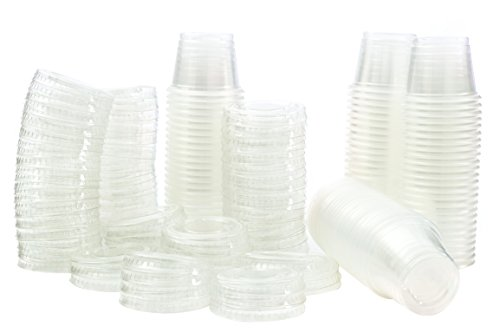 1 oz Jello Shot Plastic Tumbler Cups with Lids Translucent/Clear, 100 Pcs (1 Oz Plastic Cups compare prices)