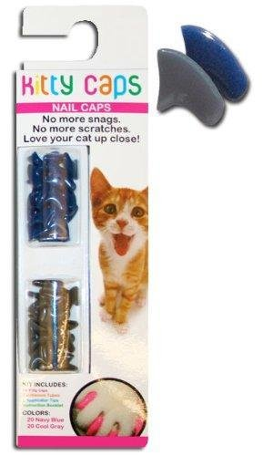 Kitty Caps, Medium Navy & Gray : Cat (9-13lbs) Soft Feline Nail Caps for Claws