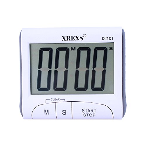 XREXS Large Display Countdown Up Timer Clock Digital Kitchen Timer Magnetic Loud Alarm Cooking Timer with Stand (White-Battery Included))