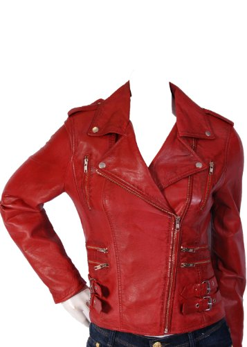 Ladies Biker Leather Jacket 7113 Red Womens Fitted Leather Jacket (10)