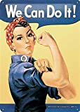 Rosie The Riveter We Can Do It large embossed metal sign (na3040)