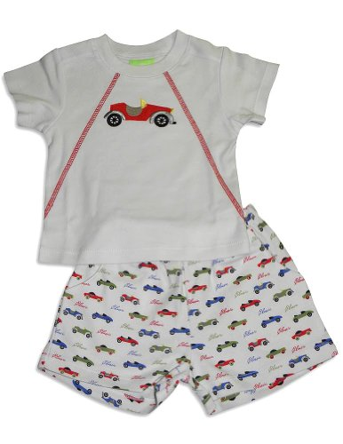 Snopea - Baby Boys Short Sleeve Classic Cars Short Set, White 27568-9Months front-784623