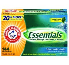 CDC 33200-14995 Arm & Hammer Essentials Dryer Sheets, Case of 6 boxes, 864 Sheets Total
