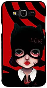 PrintVisa Girly Cat Case Cover for Samsung Galaxy Grand Max (Multicolour)