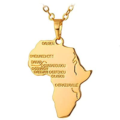 "U7 Hip Hop Jewelry 22"" Long Chain 18k Gold Plated African Map Pendant Necklace"