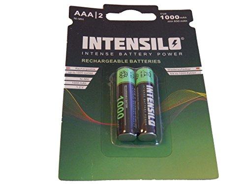 INTENSILO 2x Ni-MH 1000mAh (1.2V) wiederaufladbare Akkus Batterien für Siemens Gigaset C385 Duo, C455, C47h, C59h wie AAA, Micro, R3, HR03.