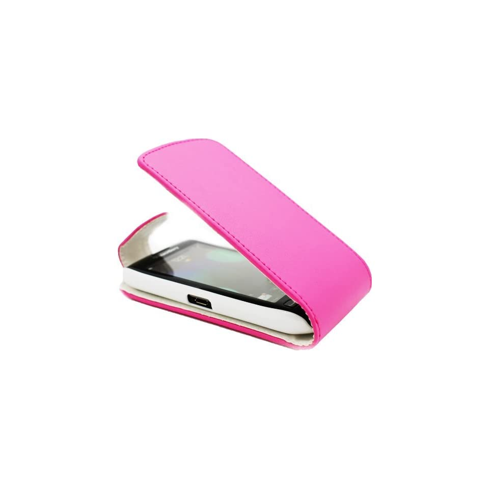 SAMRICK   Blackberry 9860 Torch Touch   Specially Designed Leather Flip Case & Screen Protector/Foil/Film/Guard & Microfibre Cloth   Pink