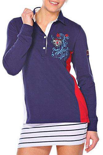 Polo Sweat Maglietta T-Shirt Felpa manica lunga per donna di M.Conte Munia blu XL