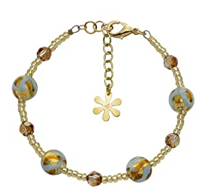 Valentina Genuine Murano Glass Turquoise and Gold Bracelet of 20.5cm