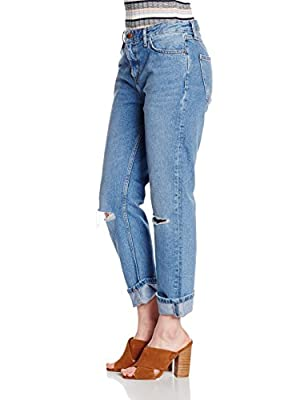 New Look Women's Busted Knee Turn Up Jeans