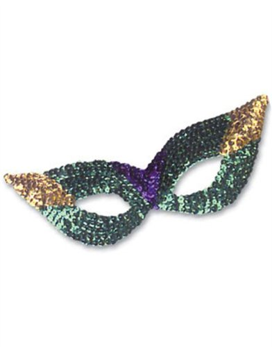 New Adult Child Purple Gold Mardi Gras Sequin Mask